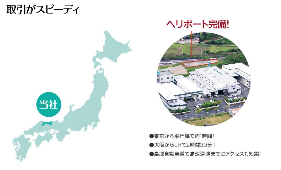 取引がスピーディ ヘリポート完備 東京から飛行機で約1時間、大阪からJRで2時間30分、鳥取自動車道で高速道路までのアクセスも短縮