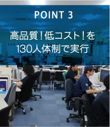 POINT3 高品質!低コスト!を130人体制で実行